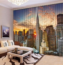 European Window Curtains Photo City building View Sheer For Living Room Printing Blackout Curtain