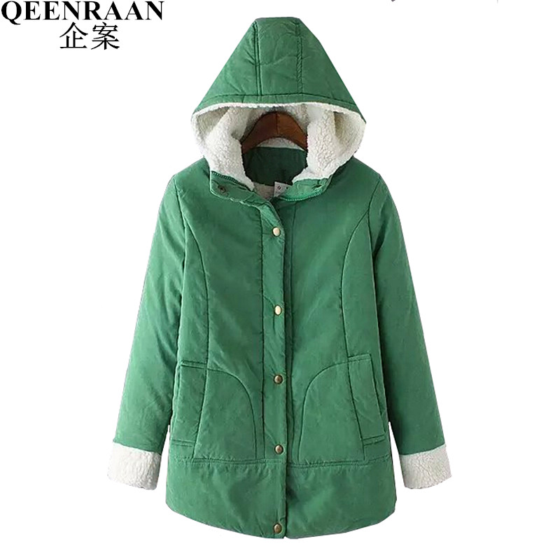 2017 New Winter Slim Coats Women Wadded Hooded Jacket Medium-Long Casual Parka Coat Thicker Cashmere Quilt Snow Outwear Womens