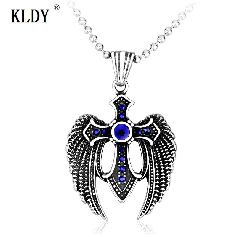 Vintage Royalty Angel wing Shield Cross Stainless Steel Men's Pendant Necklace