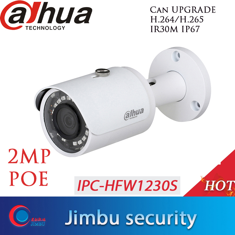 dahua IPC HFW1230S 2MP POE IP camera  H.265 work with alhua Original recorder waterproof  IP67 IR30m Mini Bullet Network Camera-in Surveillance Cameras from Security & Protection