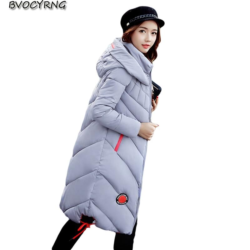 New Winter Big Yards Eiderdown Cotton Women Coat Hooded Thickening Long Leisure Jacket Elegant Fashion Girls Slim ParkaQ834 стоимость