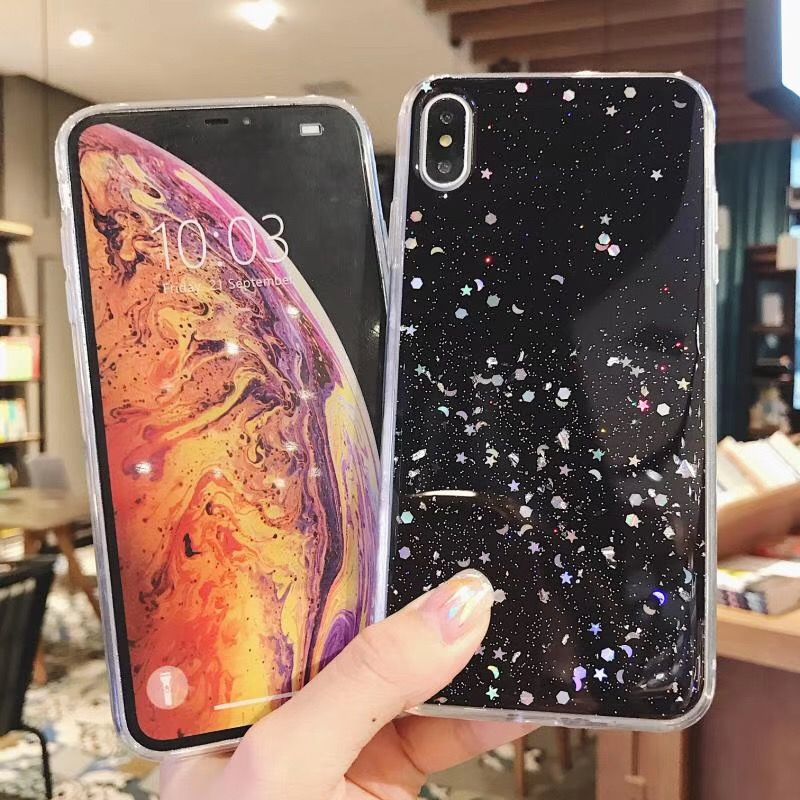 Fashion Glitter Bling Sequins Case For iphone X 8 7 Plus 6 6s Epoxy Star Transparent Case For iphone X XR XS MAX Soft TPU Cover in Fitted Cases from Cellphones Telecommunications