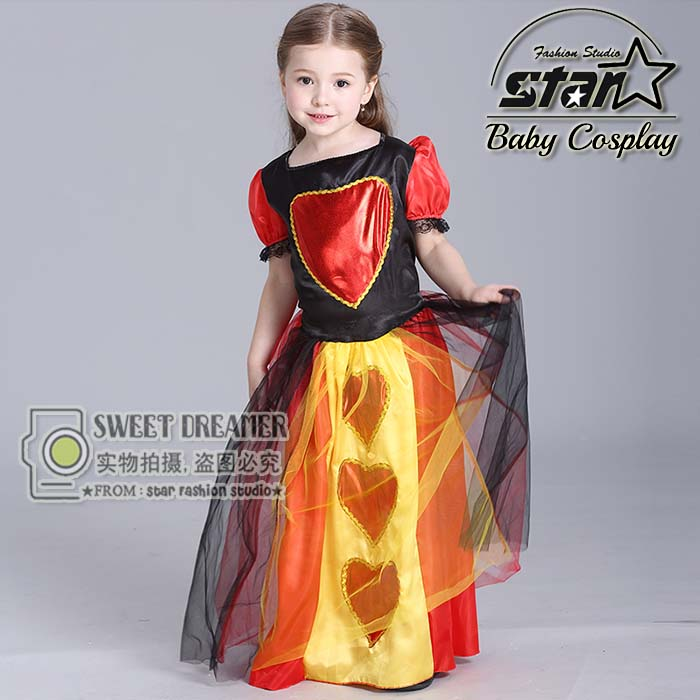 Halloween Party Performance Costumes Alice in Wonderland Dress Red Queen Role-playing Cosplay Outfit Baby Girls Princess Dress 3pcs girls maid lolita alice in wonderland costume cosplay fancy dress outfits