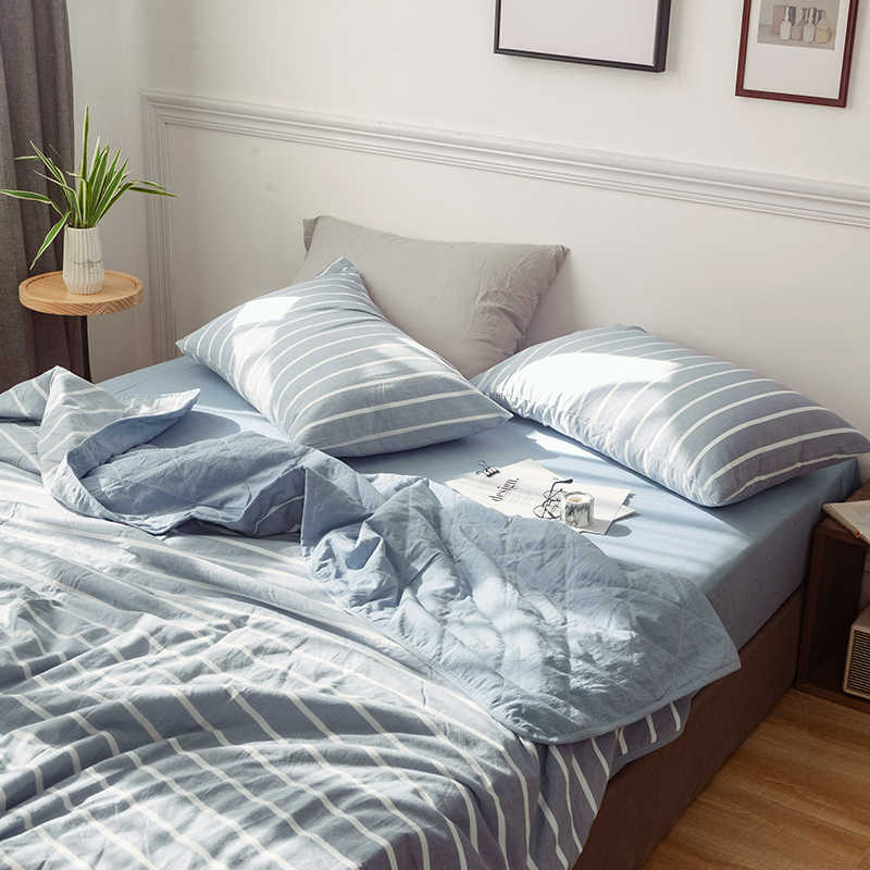 light blue stripes 1PCS 100% cotton bedspread coverlet, also use as summer blanket 200*230cm/150*200cm Yarn Dyed washed cotton