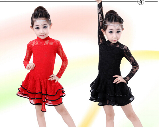2 Color Stage Red Black Lace Fashion Rumba Latin Dance Dress Tango Samba Competition 120-160cm Professional Girl Child Costume