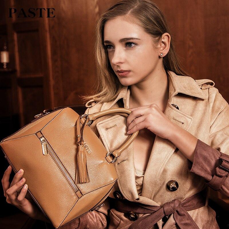 Femmes sacs à main en cuir véritable Mujer De Marca Famosa sac à bandoulière femme grande capacité bolso première couche sac fourre-tout en cuir De vachette logo