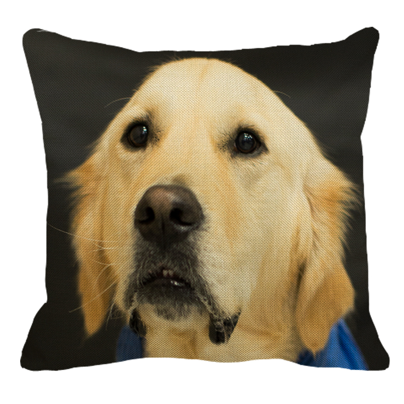 XUNYU Golden Retriever Linen Pillow Case Sofa Square Decorative Pillow Cover Dog Pattern Cushion Cover 45X45cm AC005