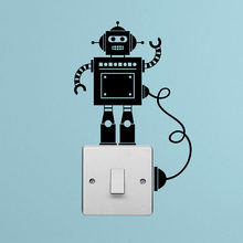 Piccolo Robot Interruttore Della Luce con Filo Decalcomania Del Vinile Wall Stickers 4WS0123(China)