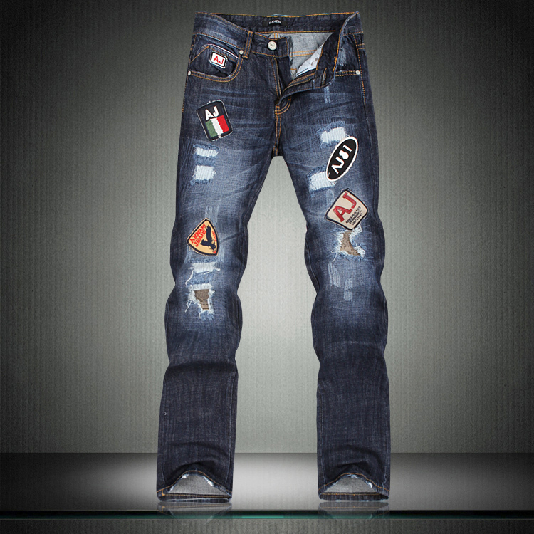 ФОТО freeshipping Hot-selling ! 2 y male jeans hole applique plus size 38 h1220 p125