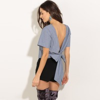 Bow Tie Backless T Shirt Women Sleeve Crop Top Kawaii Fashion Rock Clothes Cute Camisas Mujer