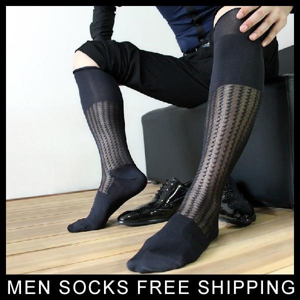 Men Sheer Jacquard Silk Stockings Sexy Hose Male Summer Socks Black Transparent Man Sock Free Shipping