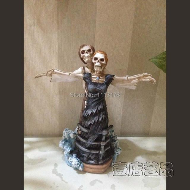 Fashion Titanic Wedding Cake Topper Halloween Skull Bride And Bridegroom Figurine Toppers Decoration Valentines Day