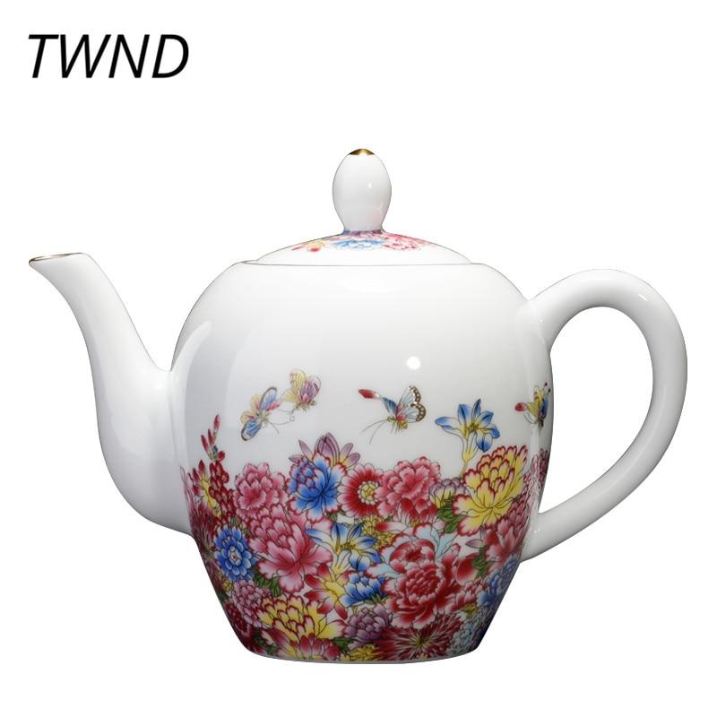 Colored enamel teapot bone chian kung fu tea pot handpainted kettle porcelain drinkware teaware