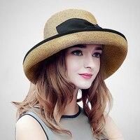 Summer Wide Brim Beach Sun Straw Hat Elegant Cap UV Protection Black Bow Straw Hats