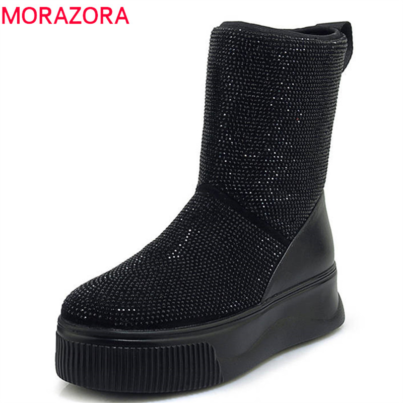 MORAZORA 2018 genuine leather winter snow boots thick fur round toe boots ladies flat platform shoes crystal ankle boots women MORAZORA 2018 genuine leather winter snow boots thick fur round toe boots ladies flat platform shoes crystal ankle boots women