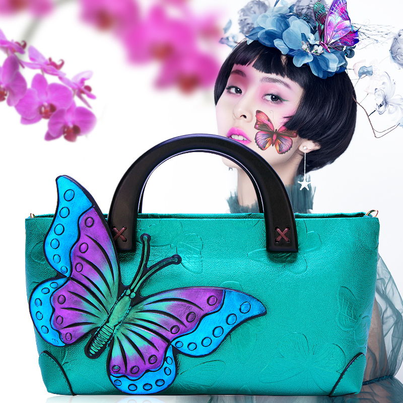 Women's bag 2018 autumn new style simple folk style big capacity colorful butterfly butterfly handbag shoulder bag. 1pc bohemian style colorful butterfly earrings