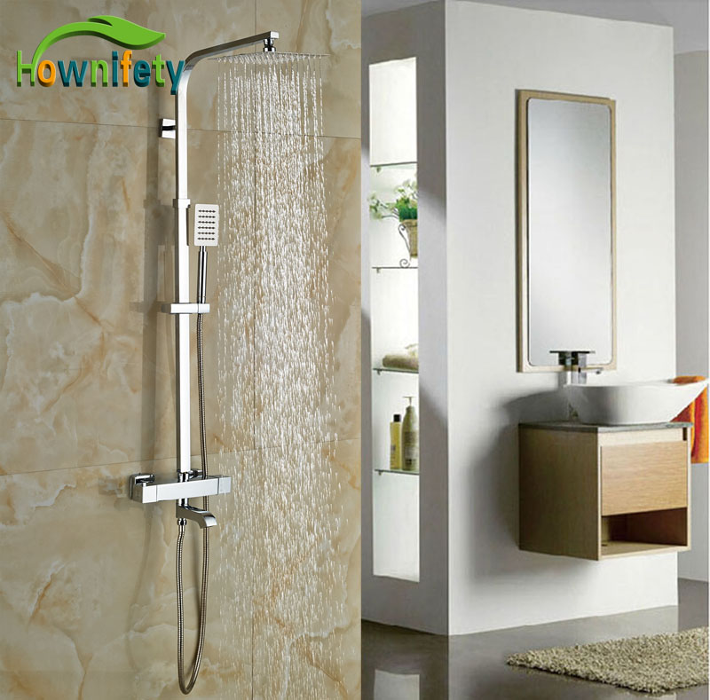 Widespread Wall Mounted Chrome Polish Tub Shower Thermostatic Shower Chrome Finish Faucet