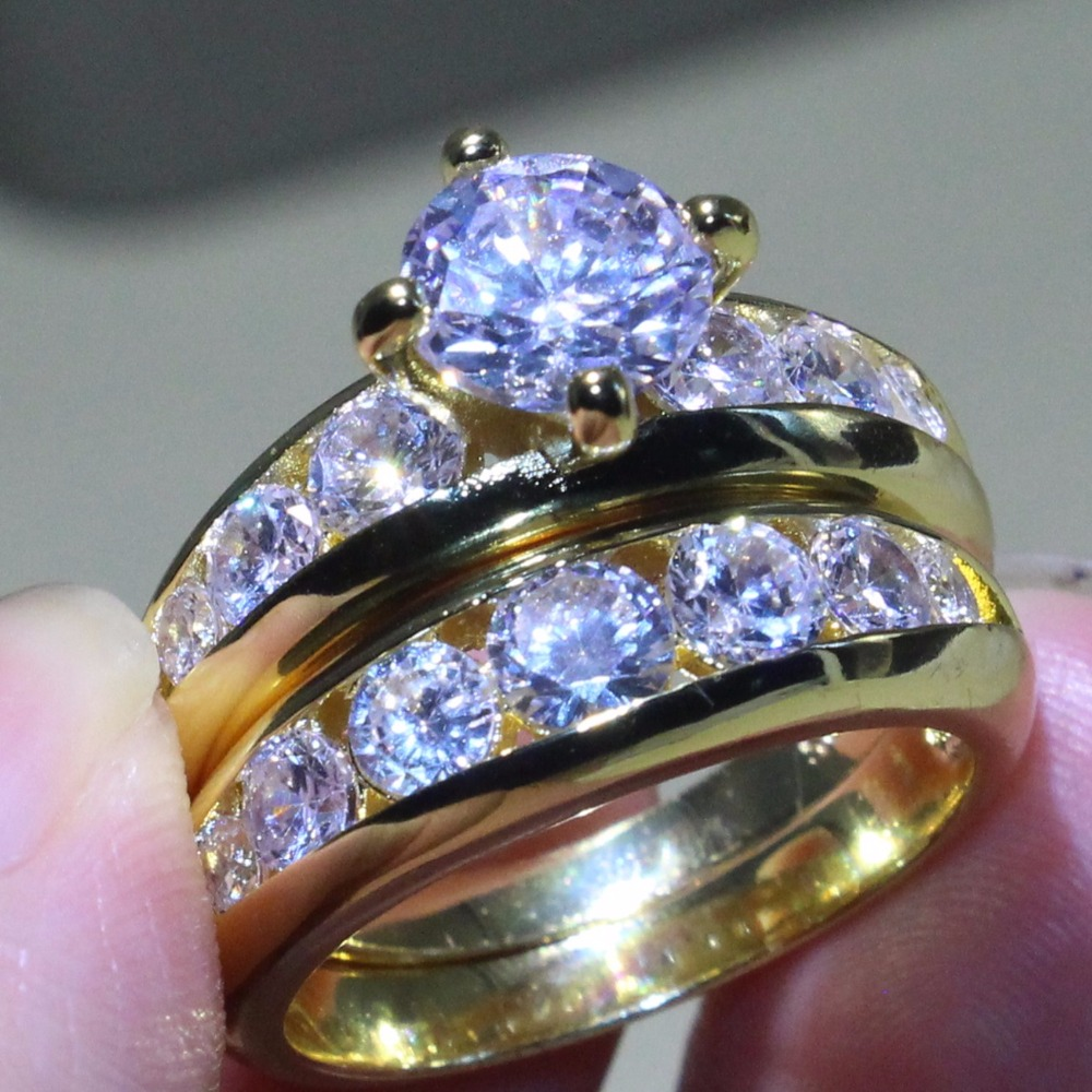 Couple Rings Luxury Jewelry 925 Sterling Silver Gold Fill Round Cut AAA Cubic Zirconia CZ Party
