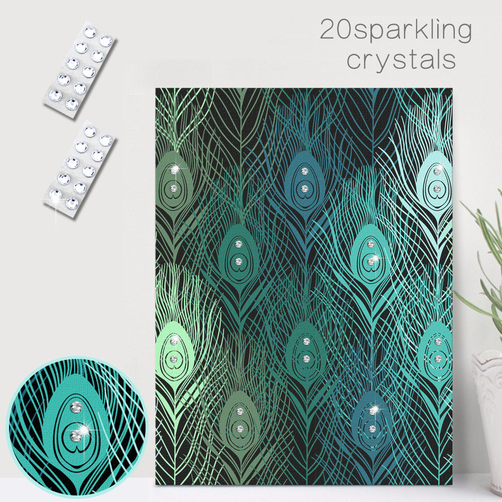 HAOCHU Crystal Canvas Painting DIY Peacock Feather Mural Wall Art Diamond Glitter Beauty Personalize Handmade Home Bedroom Decor In Calligraphy