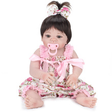 55cm Girl Doll Reborn 22″ Full Silicone Vinyl Body Kids Play House Toys Bebe Gift Boneca Reborn Baby Doll in Pink Silky Dress
