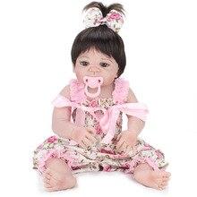 55 см Девушка Кукла Reborn 22 «полный Силиконовые Тела Винила Дети Играть Дома Игрушки Подарок Boneca Bebe Возрождается Кукла в Розовом Шелковистой Платье