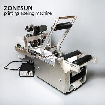 ZONESUN полуавтоматический аппликатор этикеток машина для маркировки с кодом даты принтер бутылка этикетка LT-50DT прозрачный стикер