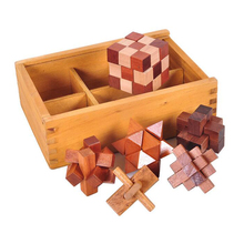 цена 6PCS/Set Wooden Puzzle IQ Brain Teaser Burr Interlocking Puzzles Game Toys Gift for Adults Children онлайн в 2017 году