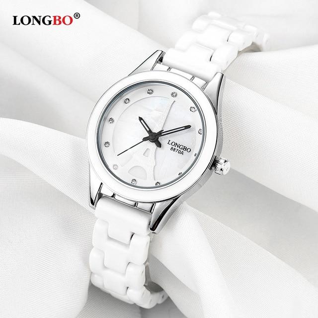 LONGBO Top Brand Men Women Luxury Couple Lovers Wrist Watches Fashion Geneva Watch Ceramic White Gold Strap Clock Reloj Mujer