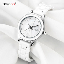 LONGBO Top Brand Men Women Luxury Couple Lovers Wrist Watches Fashion Geneva Watch Ceramic White Gold Strap Clock Reloj Mujer