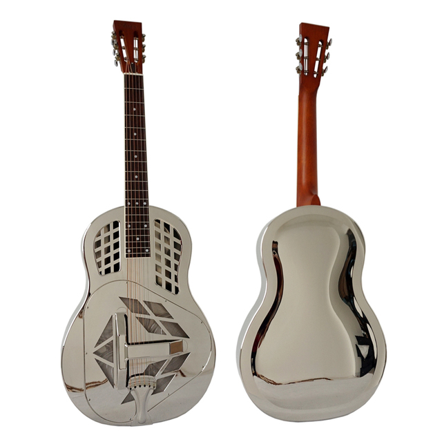 Aiersi Brand Gloss Chrome Plated Bell Brass TRICONE Resonator Guitar With Free Case and Strap