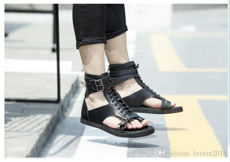 Branco preto flip flops tornozelo gladiadores apartamentos fivela de couro genuíno rendas até roma estilo punk verão sandálias ao ar livre sapatos casuais - 2