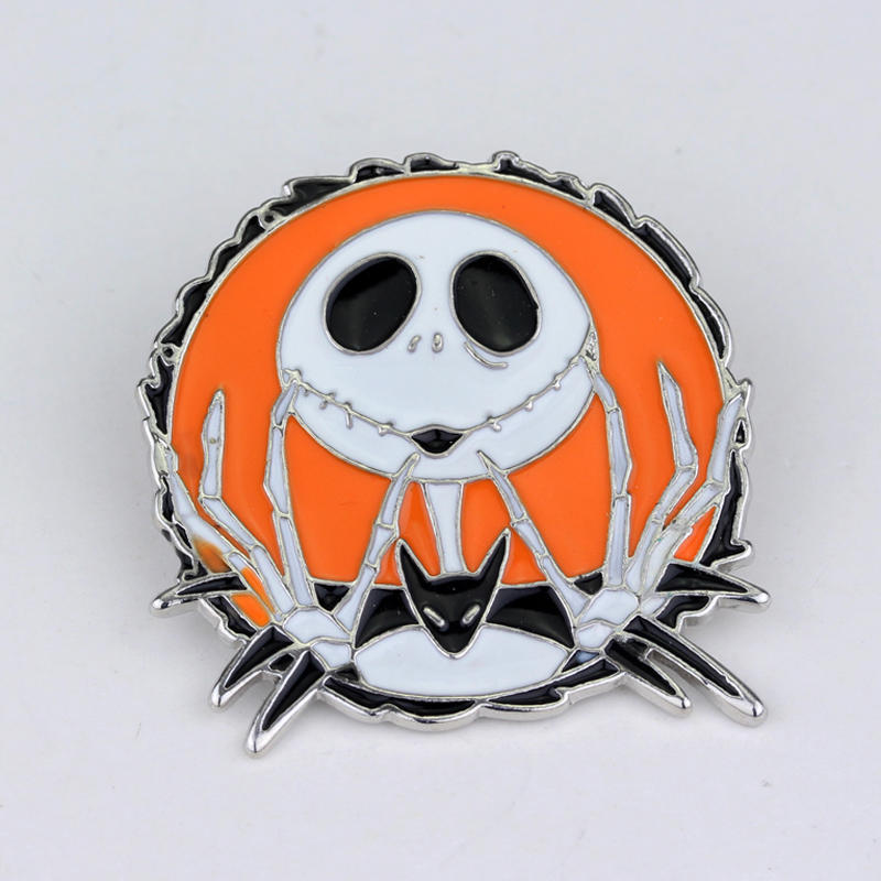 The Nightmare Before Christmas Jack Brooches for Women Round Shape Colorful Enamel Pins Skeleton Skull Badge Jewelry