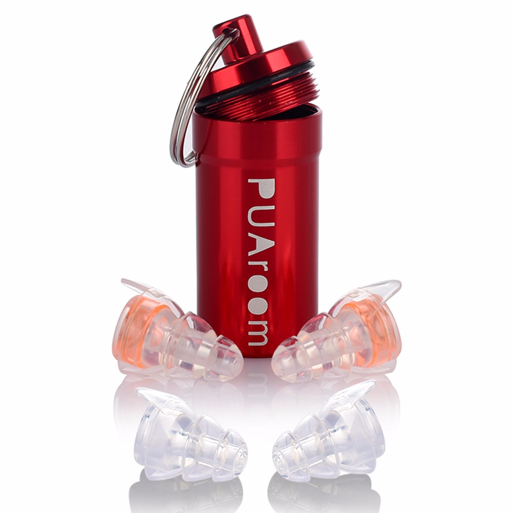PUAroom High Fidelity Ear Plugs With Case&2 Different Sizes Reusable Noise Cancelling Earplugs for Musicians Concerts DJ