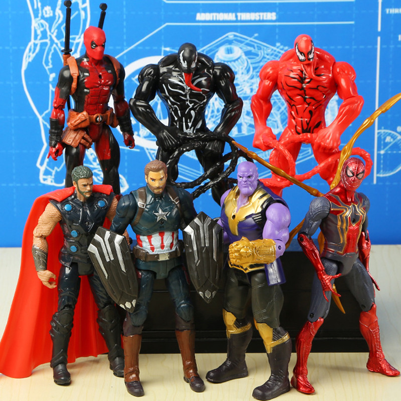 Marvel vingadores veneno vermelho carnificina deadpool figura de ação loki homem-formiga visão capitão pantera negra marvel figurinhas brinquedos
