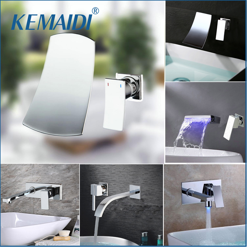 KEMAIDI LED Deck Mount Widespread Waterfall Spout Brass Chrome Bathtub Faucet Bathroom LED Mixer Chrome Finished Tap 3 PCS