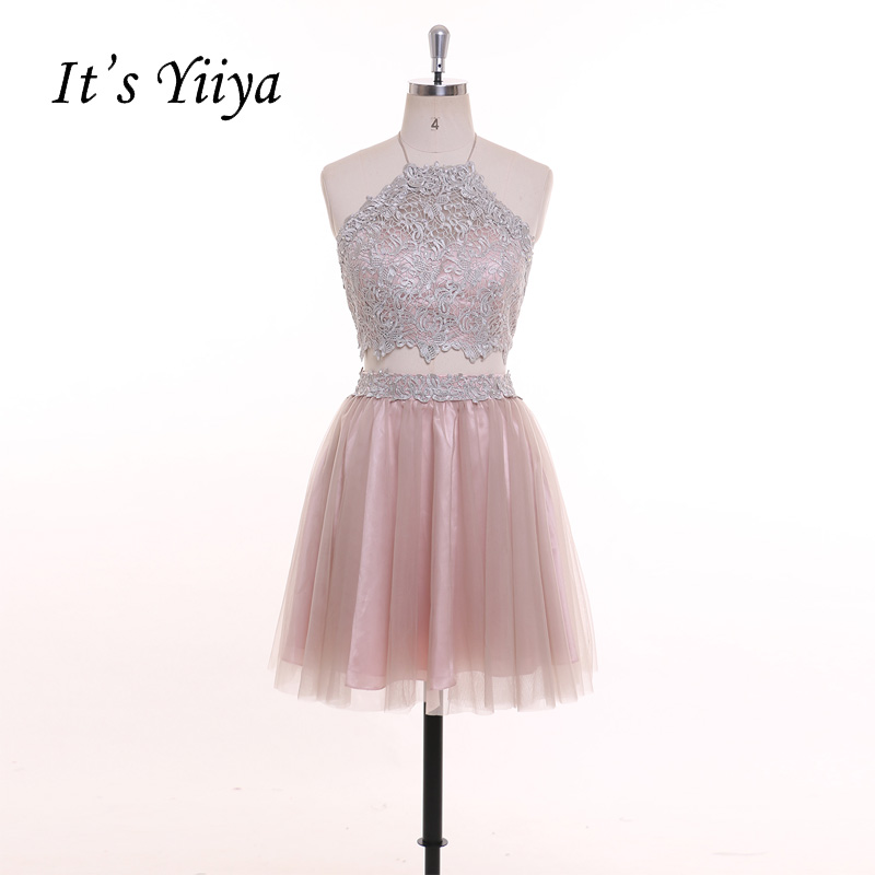 It's YiiYa Two Pieces Pink Crop Top Spaghetti Strap Backless Lace Knee Length   Cocktail     Dress   Simple Prom Party Formal   Dress   T032