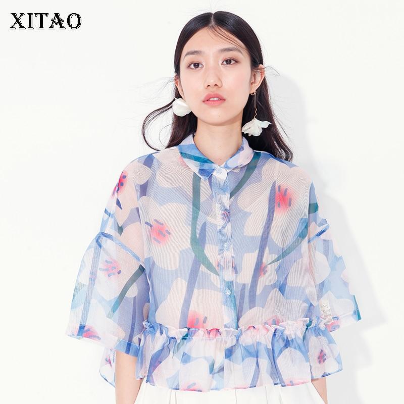 [XITAO] Korea New 2018 Summer Fashion Women Floral Pattern Print Ruffles Half Sleeve Patchwork Mesh Pleated Shirts KZH975