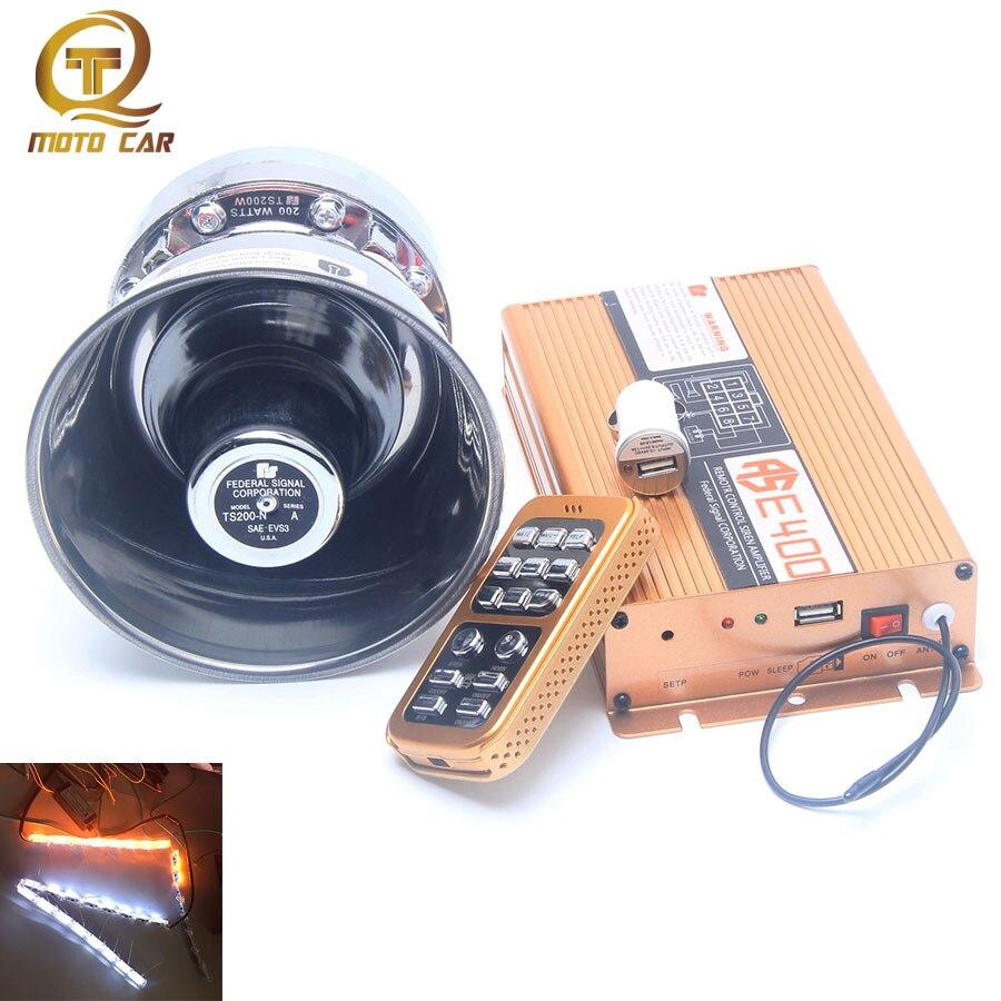 Hot Sale 400w 12v Wireless Alarm Horn Multi Tone 18 Sound Voice Multitone Siren Loudspeaker For Car Ship Train Warning Megaphone Remote Control Lamp