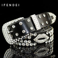 IFENDEI Fashion Sexy Lips Belt Women 's Casual Buckle Genuine Leather Belts Rhinestone Shiny Leather Wide Belt Waist Wild Straps