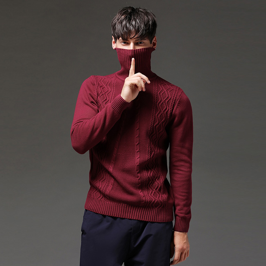 2020 New Arrival Winter Thick Warm Sweaters Turtleneck Thick Lines Cotton Sweater  Pull Homme Sweater Solid Warm Sweater