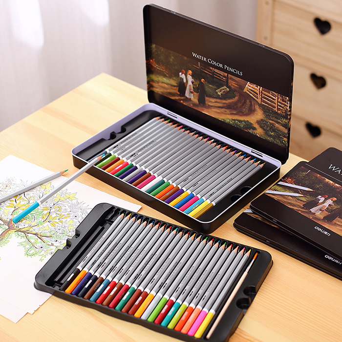 Water Soluble Iron Box Color Color Pencil Paint Coloring Secret Garden Watercolor Children School Supplies water color pencils high quality hot selling kuelox 72colors senior water soluble watercolor pencil iron metal gift box sperial for artist