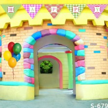 5X7ft Carton colorful house happy birthday party children Photograhy Background for Photo Studio(China)