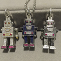 Unisex Man women jewelry Figure Robot pendant 925 sterling silver with cubic zircon pave stone free shipping