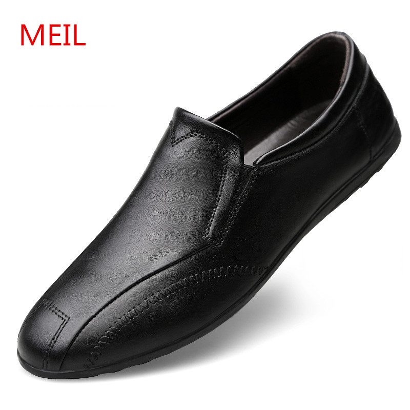 MEIL 2018 NEW Men Shoes Genuine Leather Design Spring Sapatos Masculinos Flats Loafers Driving Casual Shoes Men size 37-46 2017new men casual shoes elastic breathable massage flats shoes spring summer men s flats men sapatos chaussure homme masculinos