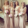 Wow Bridal New Fashion Sequins Cap Sleeves Sequined vestido de noite Dress to Wedding Party Long Gold Bridesmaid Dress
