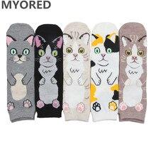 цена на MYORED 5pairs women socks cute funny cat style fashion autumn winter funny socks short ankle sock for girls woman casual dress