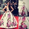 Sonam Kapoor de impresión vestidos de La Celebridad de la Alfombra Roja Vestidos de Bola Del Vestido de Cannes Festivel Vestidos Vestido de Noche Verdadero de La Venta Caliente