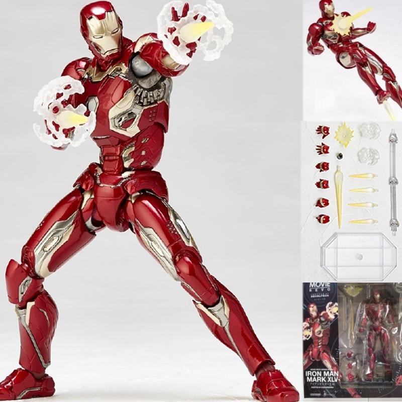 все цены на Movie Revo Series NO.004 Revoltech Irom Man Mark XLV No 004 Toy Action Figure Collectible Model Toy 16cm онлайн