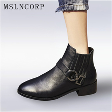 Plus Size 34-43 Spring Autumn Fashion Boots Women Chelsea Low Heels Shoes Lady Genuine Leather Boots Brand Martin Boots Black
