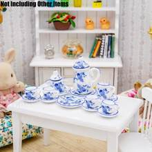 Odoria 1:12 Miniature 15PCS Blue China Porcelain Tea Cup Set Vintage Ceramic Tableware Dollhouse(China)
